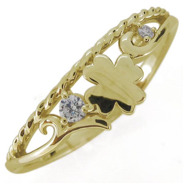 ダイヤモンド・指輪・レディースリング・クローバー・唐草・18金・四つ葉 母の日 プレゼント