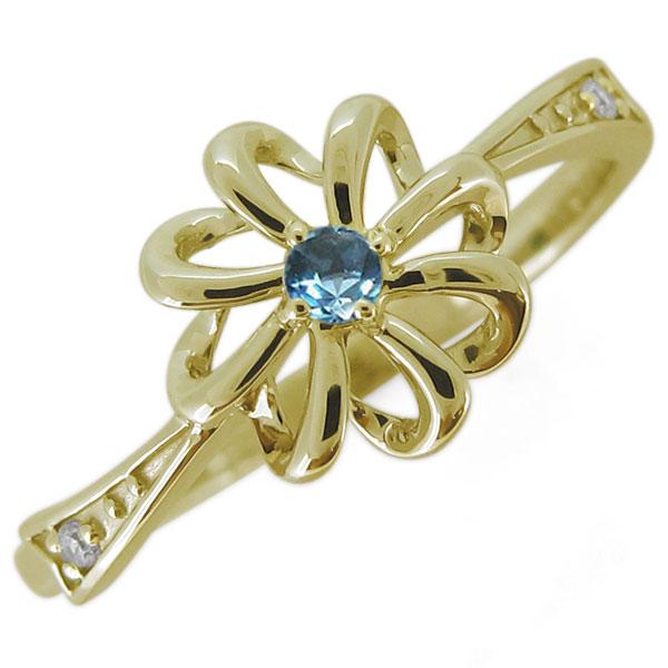 指輪 レディース おしゃれ 花 ブルートパーズ フラワーリング 18金 リボン