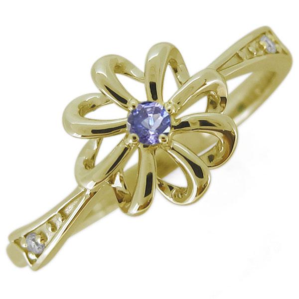 指輪 レディース おしゃれ 花 タンザナイト フラワーリング 18金 リボン