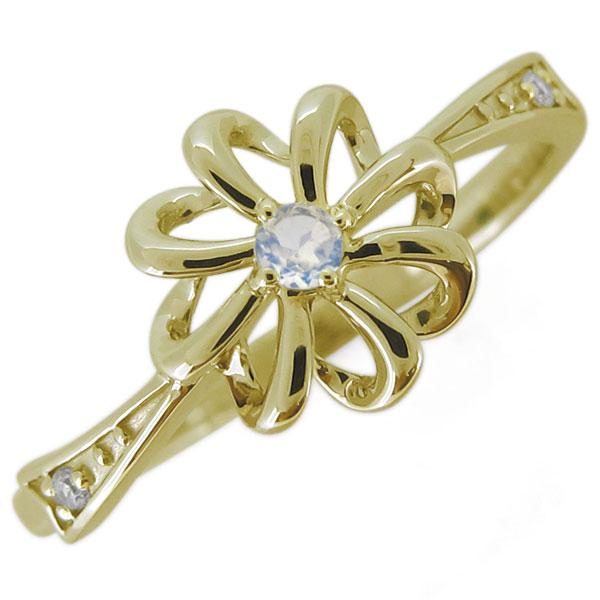 指輪 レディース おしゃれ 花 ロイヤルブルームーンストーン フラワーリング 18金 リボン