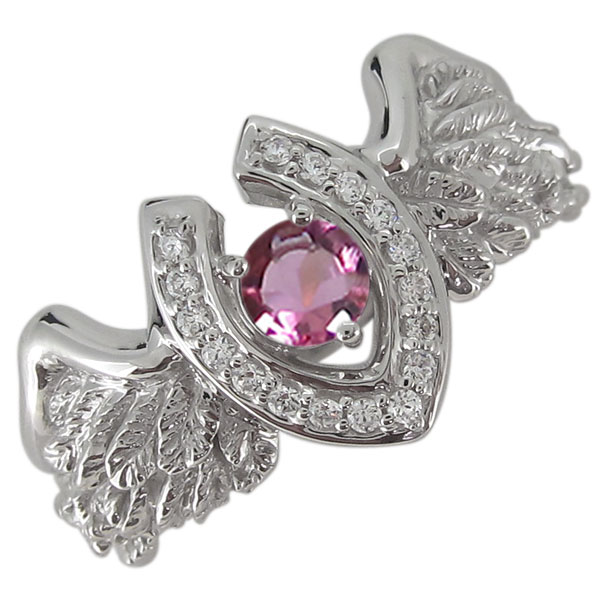 送料無料 10月誕生石 指輪 メンズ 馬蹄 羽根 プラチナリング 馬蹄リング メンズ ピンクトルマリン フェザー 羽根 指輪 プラチナ