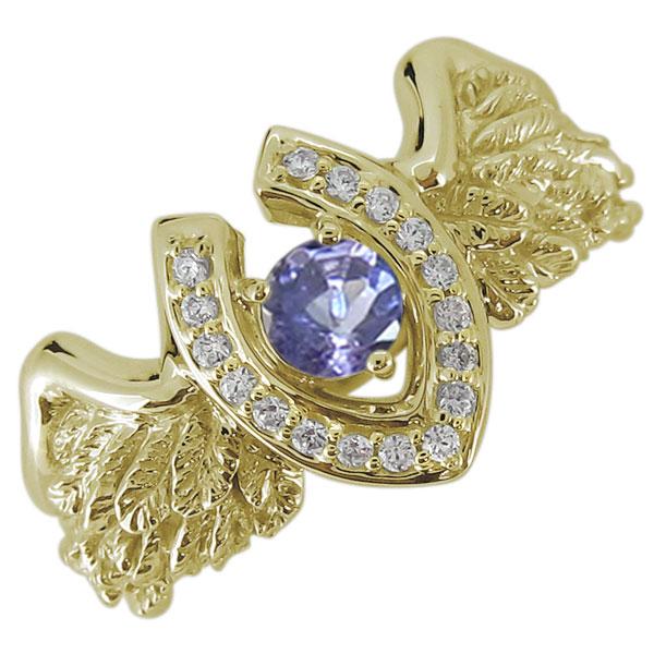 送料無料 フェザーリング 馬蹄 メンズ タンザナイト 指輪 K10 メンズ リング 馬蹄 羽根 フェザー タンザナイト 12月誕生石 10金 指輪