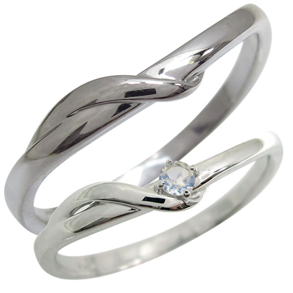 結婚指輪・プラチナ・ペアリング・2本セット・シンプル・ロイヤルブルームーンストーン・マリッジリング