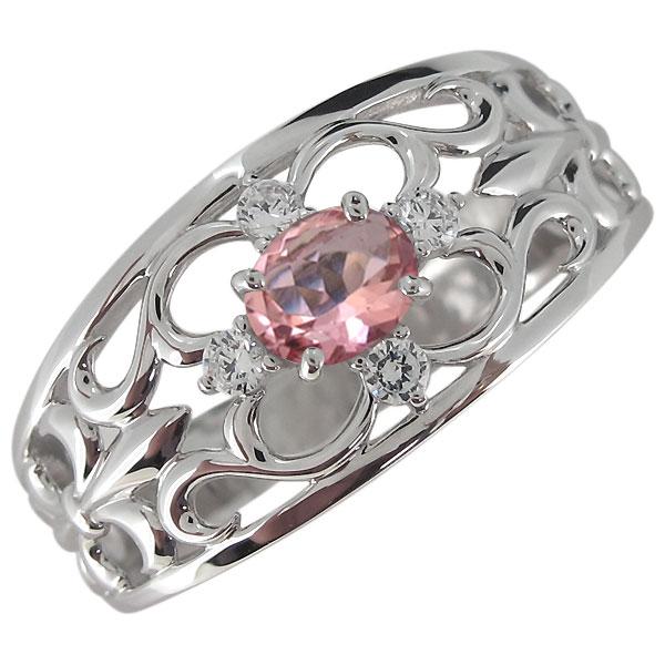 送料無料 指輪 百合の紋章 プラチナ メンズ 10月誕生石 リング メンズリング・プラチナ・ピンクトルマリン・指輪・オーバル・百合の紋章