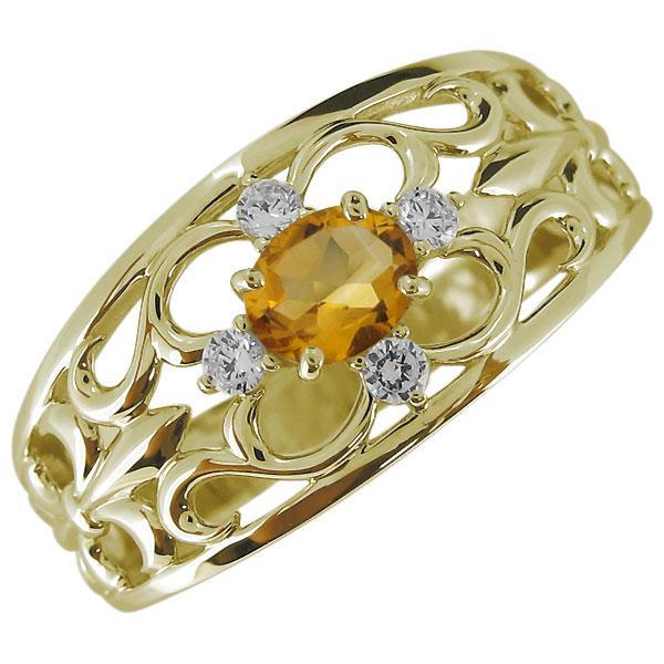 送料無料 メンズリング 百合の紋章 シトリン 11月誕生石 K18 指輪・メンズ・18金・おしゃれ・シトリンリング・百合の紋章