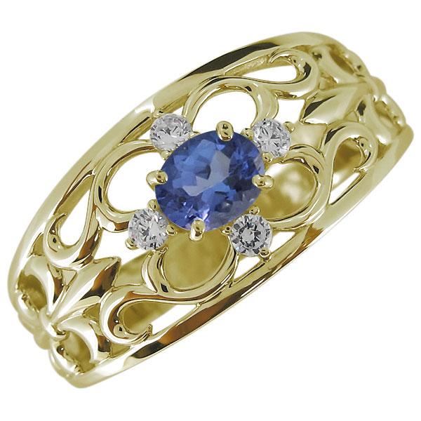 送料無料 タンザナイトリング 百合の紋章 メンズ 指輪 K10 オーバル メンズ・指輪・百合の紋章・タンザナイト・12月誕生石・10金・リング