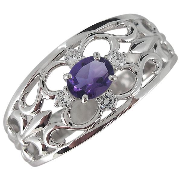 送料無料 指輪 百合の紋章 プラチナ メンズ 2月誕生石 リング メンズリング・プラチナ・アメジスト・指輪・オーバル・百合の紋章