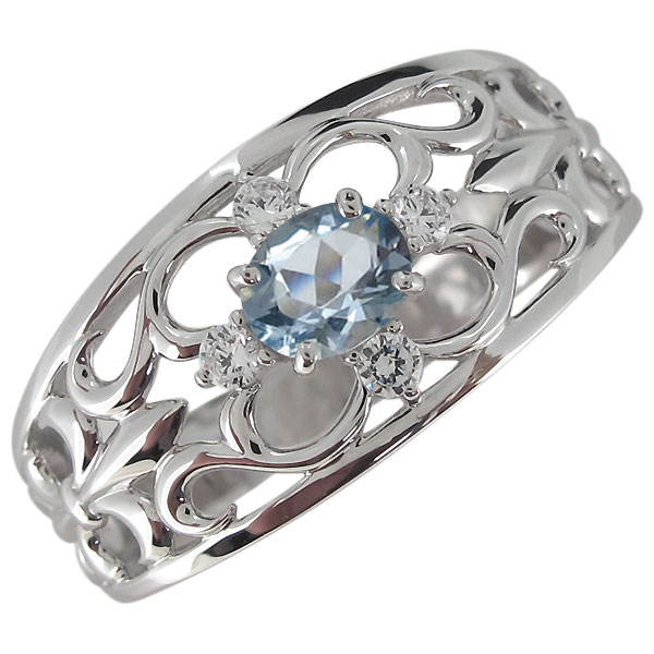 メンズリング・プラチナ・アクアマリン・指輪・オーバル・百合の紋章