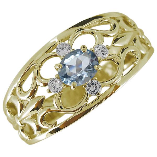 9日1:59迄 メンズ・指輪・百合の紋章・アクアマリン・3月誕生石・10金・リング