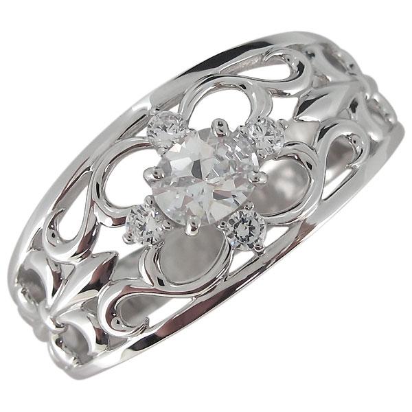 指輪・メンズ・キュービックジルコニア・リング・シルバー・百合の紋章・オーバル
