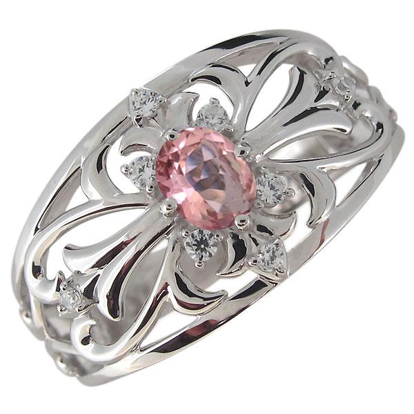 指輪・メンズ・シルバー・クロス・ピンクトルマリン・彼氏・20代・30代・40代・プレゼント