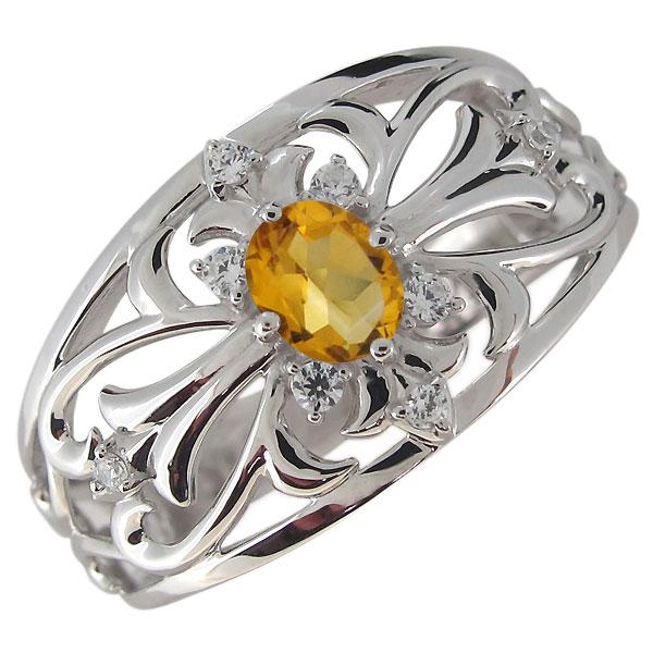 指輪・メンズ・シルバー・クロス・シトリン・彼氏・20代・30代・40代・プレゼント