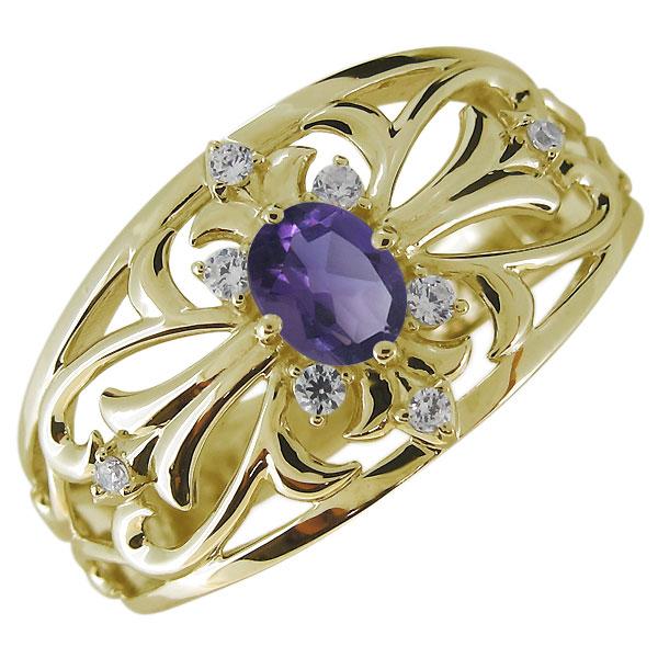 送料無料 メンズリング クロス アメジスト 指輪 K10 オーバル 指輪・メンズ・アメジスト・2月誕生石・クロス・十字架・10金・リング
