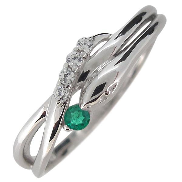 ヘビ 蛇 指輪 プラチナ レディース 天然石 エメラルド スネーク リング