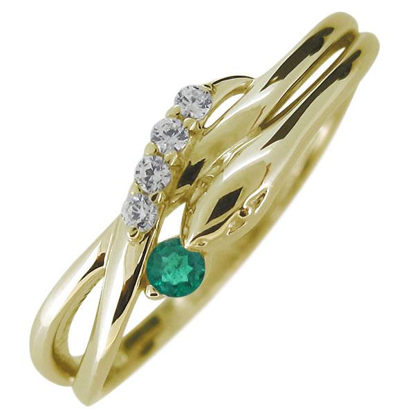 指輪 蛇 へび エメラルド 天然石 10金 レディースリング スネーク 人気