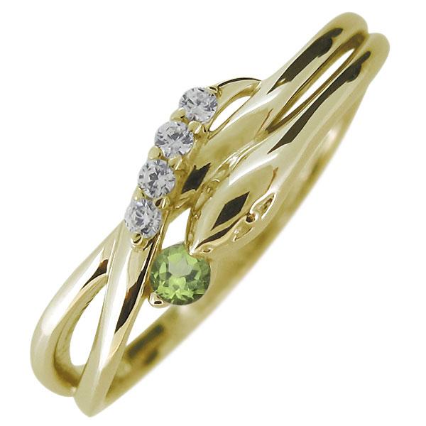 指輪 蛇 へび ペリドット 天然石 10金 レディースリング スネーク 人気