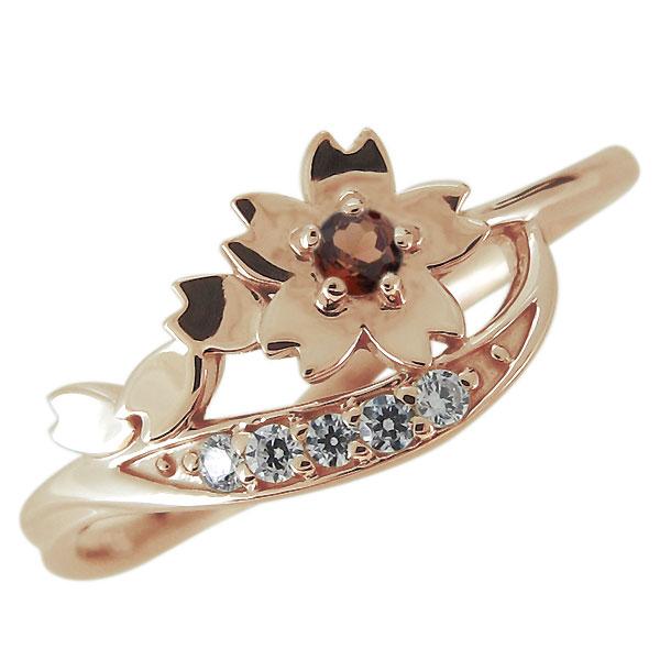 指輪 レディース 18金 ピンクゴールド 桜 ガーネット リング さくら フラワー