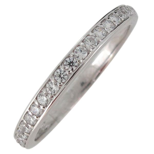 指輪 レディース 華奢 シンプル キュービックジルコニア シルバー エタニティリング