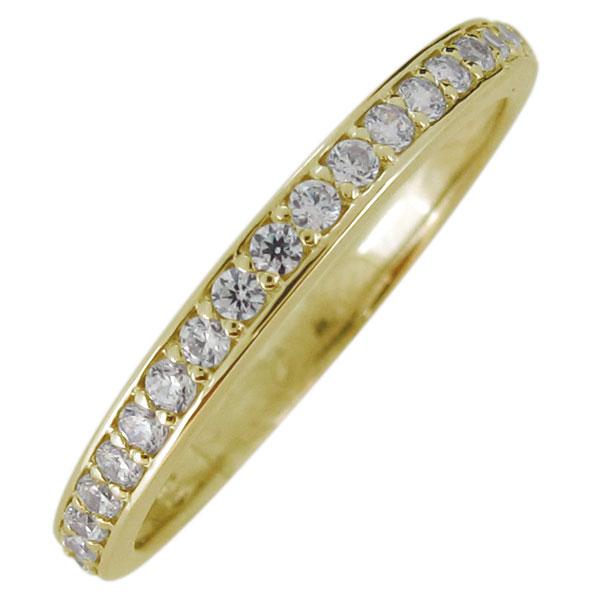 ハーフエタニティー リング 指輪 レディース ダイヤモンドリング シンプル 10金 天然石 華奢 重ね付け