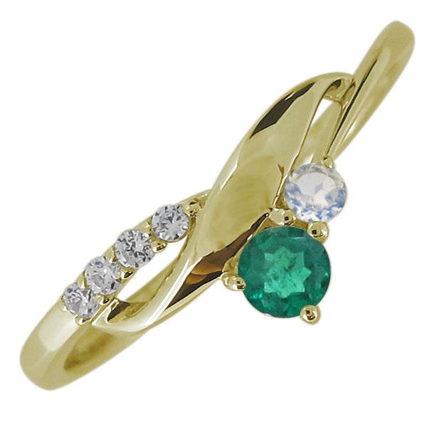 40%OFFの激安セール 送料無料 新色追加して再販 レディース 婚約指輪 エンゲージリング エメラルド K18 レディースリング リング 5月誕生石 18金 上品