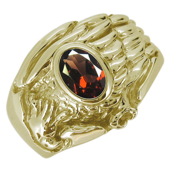 18金 K18 指輪 メンズ ワシ 鷲 天然石 ガーネット オーバル リング イーグル ホーク