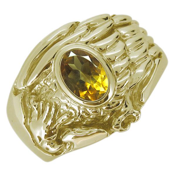 18金 K18 指輪 メンズ ワシ 鷲 天然石 シトリン オーバル リング イーグル ホーク