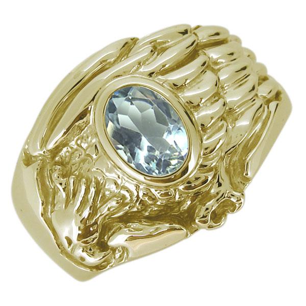 18金 K18 指輪 メンズ ワシ 鷲 天然石 アクアマリン オーバル リング イーグル ホーク
