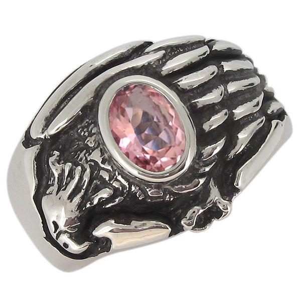 指輪 鷲 シルバー ピンクトルマリン 20代 30代 40代 ワシ イーグル メンズリング