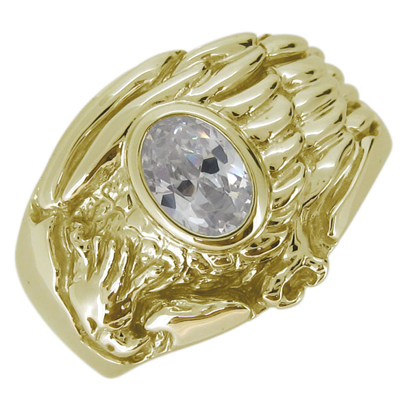 18金 K18 指輪 メンズ ワシ 鷲 石 キュービックジルコニア オーバル リング イーグル ホーク