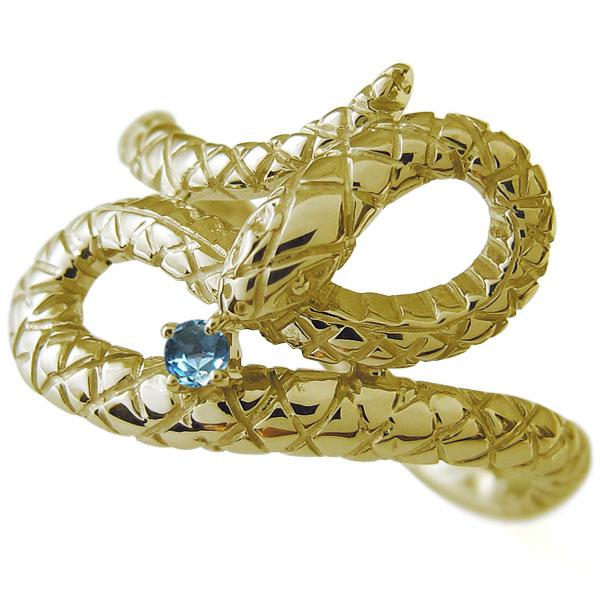 【10%OFF】4日20時~ ブルートパーズ 指輪 スネーク ヘビ リング 18金