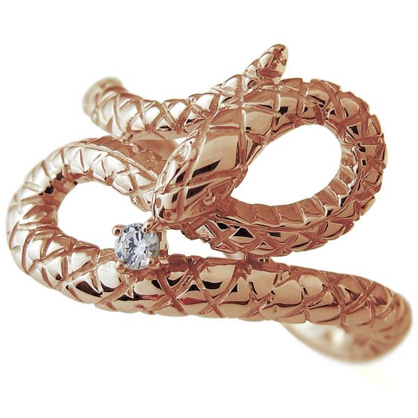 【10%OFF】4日20時~ スネーク リング ヘビ 蛇 指輪 ダイヤモンド 10金