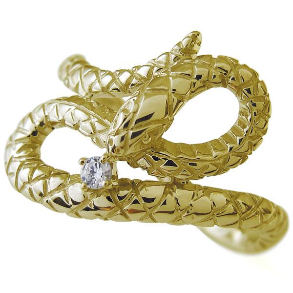 【10%OFF】4日20時~ ダイヤモンド 指輪 スネーク ヘビ リング 18金