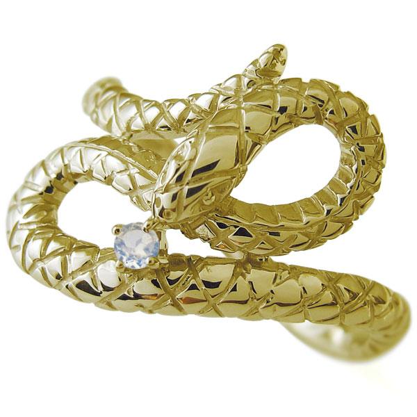 【10%OFF】4日20時~ ロイヤルブルームーンストーン 指輪 スネーク ヘビ リング 18金