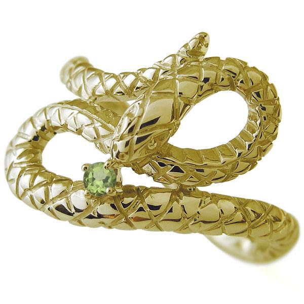 ペリドット 指輪 スネーク ヘビ リング 18金