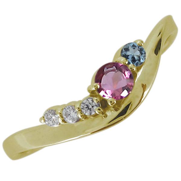 10月誕生石 18金 ピンクトルマリン エンゲージリング 婚約指輪 シンプル