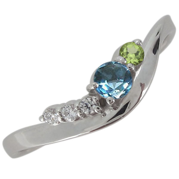 婚約指輪 プラチナ エンゲージ 天然石 ブルートパーズ シンプルリング オシャレ V字