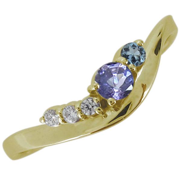 18金 婚約指輪 エンゲージリング タンザナイト 12月誕生石 シンプル
