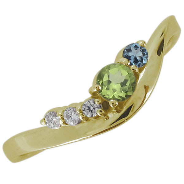 18金 指輪 リング ペリドット 8月誕生石 シンプル プレゼント 妻 嫁 彼女