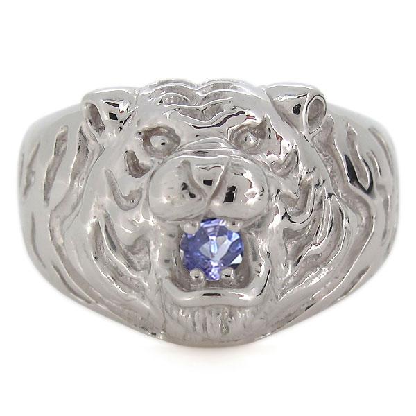 プラチナ 指輪 メンズ タイガー 虎 12月誕生石 タンザナイト リングTKJcF13lu