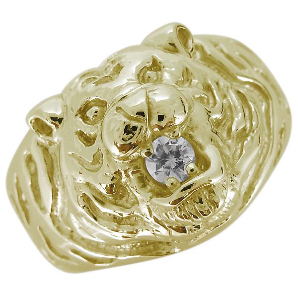 メンズリング 指輪 タイガー 虎モチーフ 誕生石 指輪 10金