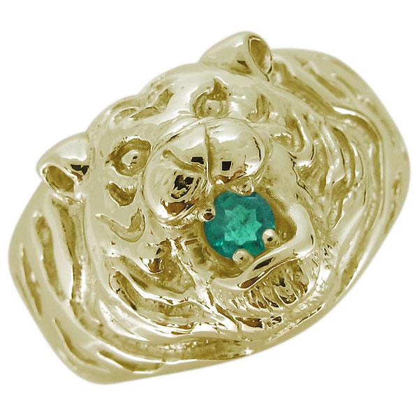 指輪 メンズ 18金 誕生石 虎 タイガーリング 天然石