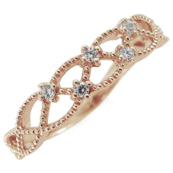指輪 レディース 18金 K18 ダイヤモンド 4月誕生石 ミル打ちデザイン