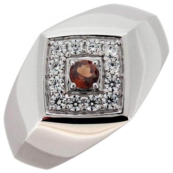 印台リング シルバー 指輪 天然石 ガーネット メンズリング