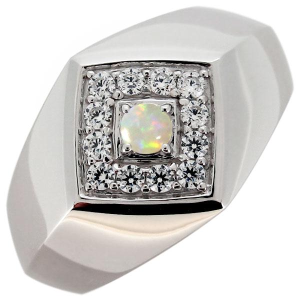 3/20限定AM10時~ 指輪 印台 メンズリング オパール 10月誕生石 プラチナ ひし形