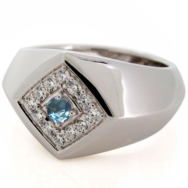 18金 メンズリング 印台 指輪 天然石 ブルートパーズ K18