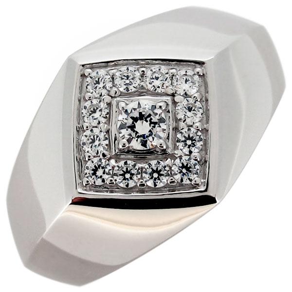 指輪 印台 メンズリング ダイヤモンド 4月誕生石 プラチナ ひし形