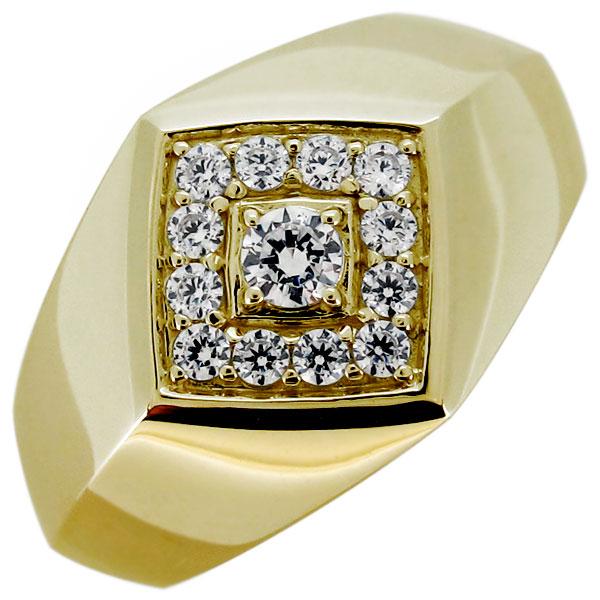指輪 メンズ 印台 リング ダイヤモンド 4月誕生石 10金 シンプル