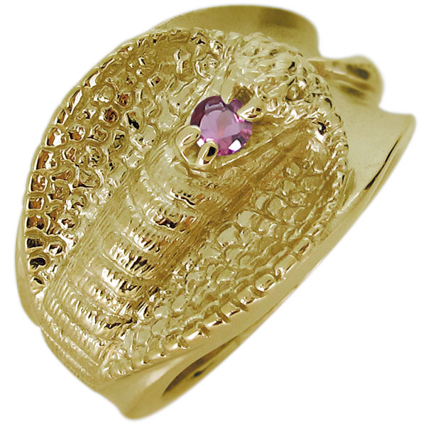 指輪 リング 太め k18 メンズ 蛇 スネーク 天然石 ピンクトルマリン