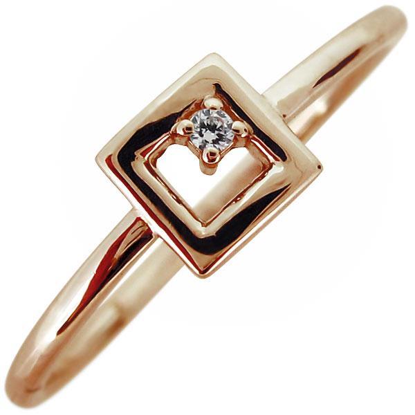 指輪 レディース 18金 18k ダイヤモンド 4月誕生石 華奢 リング