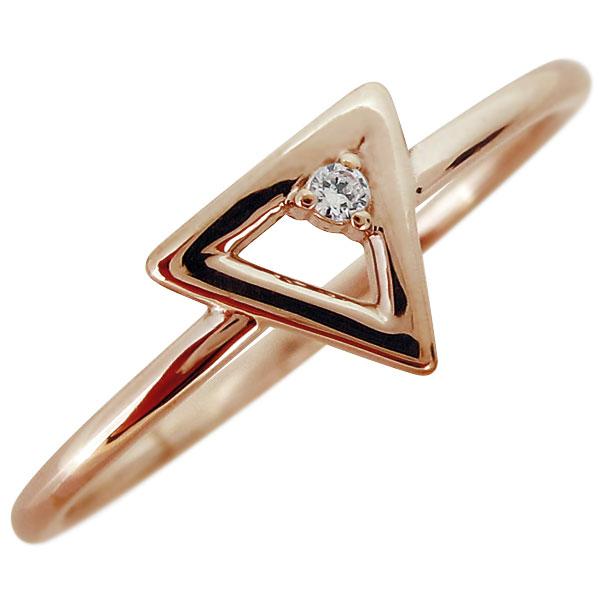 【10%OFFクーポン】5日23:59迄 指輪 18金 レディース シンプル ダイヤモンド 華奢 重ね付け リング